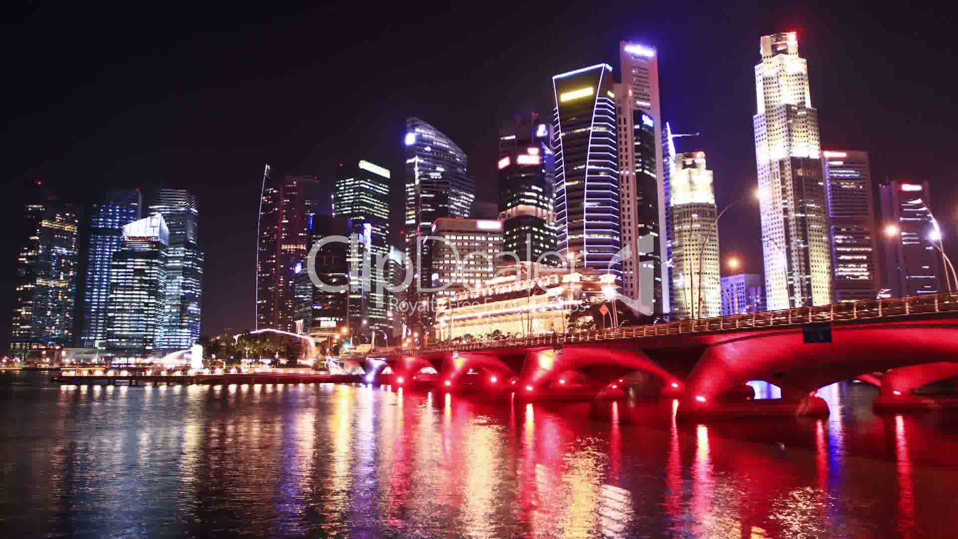 singapore cityscape at night  time lapse  royalty