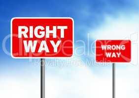 Right way Wrong way street signs