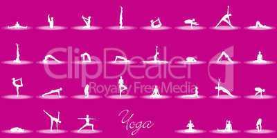 Yoga Posen Set - Magenta Weiß