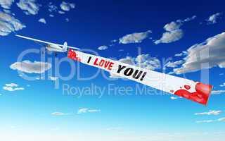 Flugzeug mit Banner - I LOVE YOU