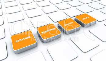 Quader Konzept Orange - Beratung Kompetenz Qualität Service 1