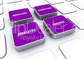 Quader Konzept Violett - Beratung Kompetenz Qualität Service 1