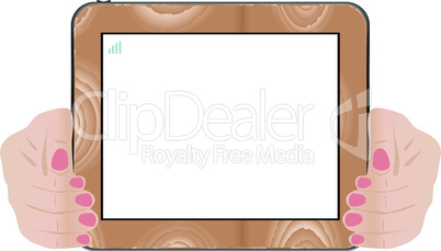 Hands holding touch screen wooden tablet pc with blanc screen. vector