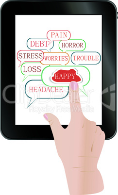 Hands holding and point on digital vector tablet pc