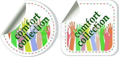 Comfort wear collection stickers vector label tag