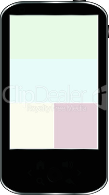 Black smartphone isolated on white background, Iphon - like generic smartphone