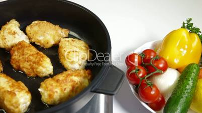 Food Preparation - Frying Chicken Breast Rolls