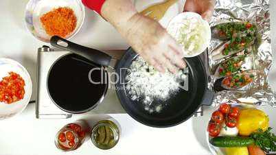 Food Preparation - Fried Onion in Frying Pan