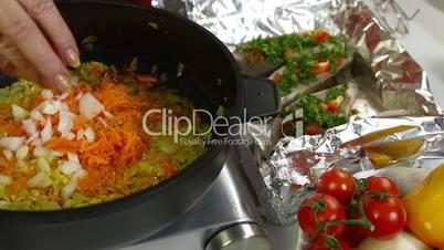 Cooking Vegetables In Frying Pan