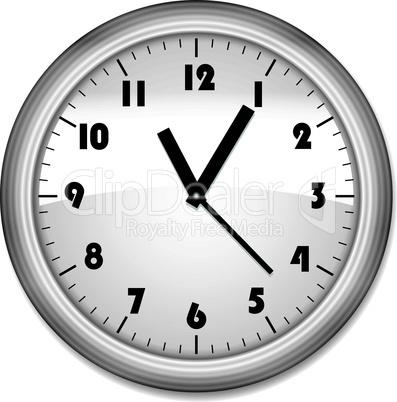 Grey office clock on white