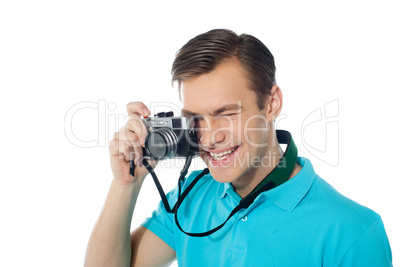 Youth photographer capturing images