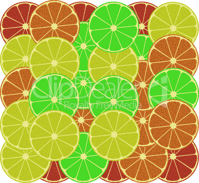 fruits of an orange, a lemon, grapefruit and lime. Vector background