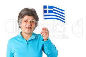 Seniorin mit griechischer Flagge
