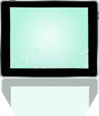 Tablet vector pc with bright blue screen