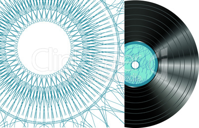 Black vector vinyl disc with abstract cover