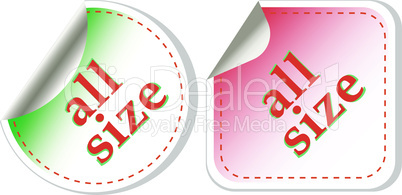 all size clothing stickers label vector set