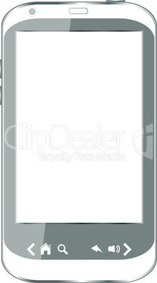 Beautiful white smartphone on white background
