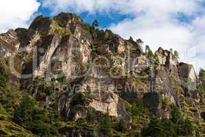 Himalaya Landscape: rocks, trees and Buddhist symbols