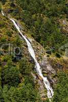 Himalaya Landscape: waterfall and forest trees