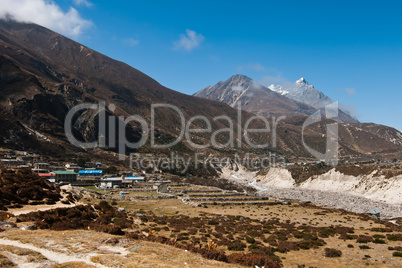 Himalayas in Nepal: highland village and peaks