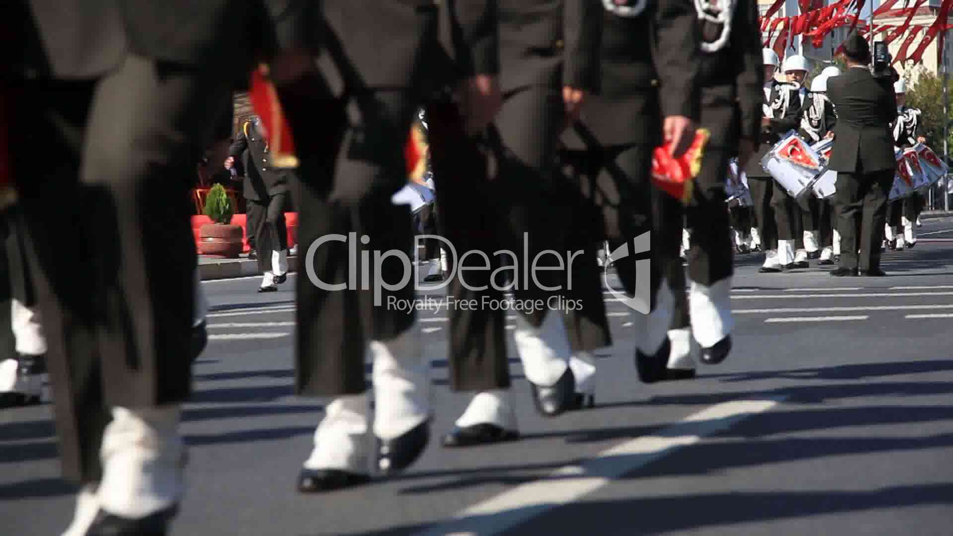 Military Brass Band Walk On The Road: Royalty-free video and stock