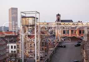 Marollen Lift in Brussels at dusk