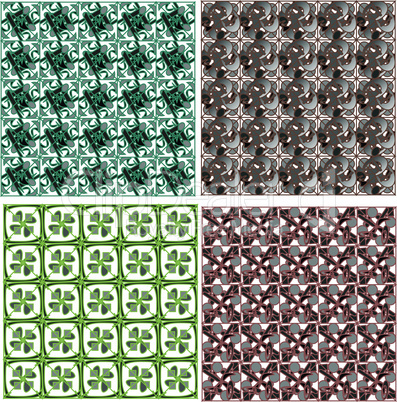 Set of detailed repeating damask seamless patterns
