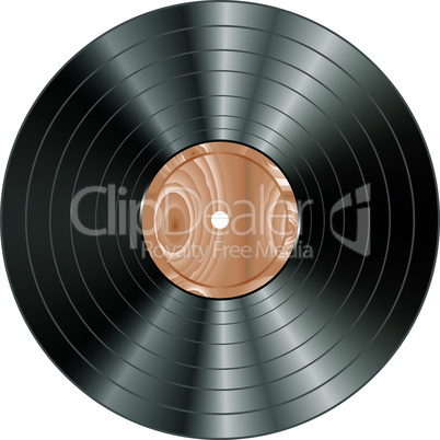 vinyl wooden record isolated on white