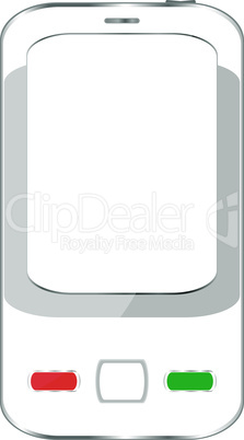 White smartphone with white screen isolated on white