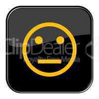 Glossy Button schwarz - Smiley neutral