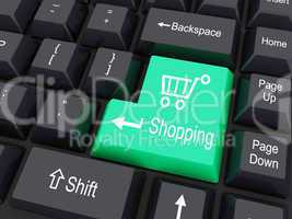 keyboard buttons with shopping cart sign