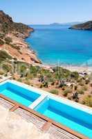 Sea view swimming pools at the luxury villa, Crete, Greece
