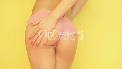 Nice buttocks in pink panties