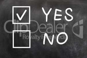 Check boxes of Yes and No