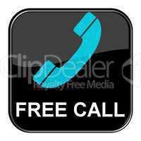 Glossy Button schwarz - Free Call