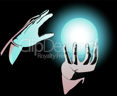 Hands and magic sphere