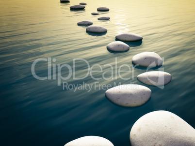 step stones sunset