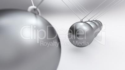 3D Kugelstosspendel Silber auf Weiß
