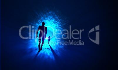 Der Tunnel zum Licht - Blau Cyan