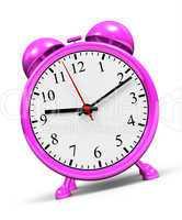 Kleiner rosa Wecker vor weissem Hintergrund