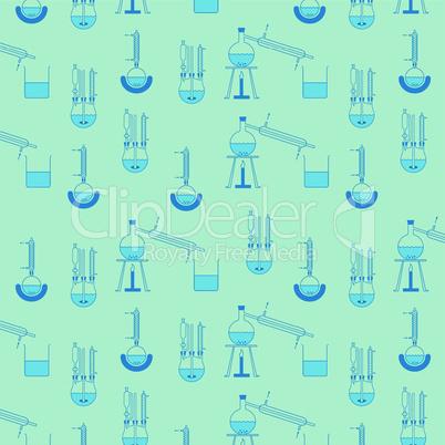 Muster aus verschiedenen Destillationsapparaturen in dunkelblau auf hellblauem Hintergrund, beliebig fortsetzbar