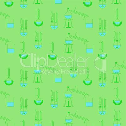 Muster aus verschiedenen Destillationsapparaturen in dunkelgruen auf hellgrünem Hintergrund, beliebig fortsetzbar