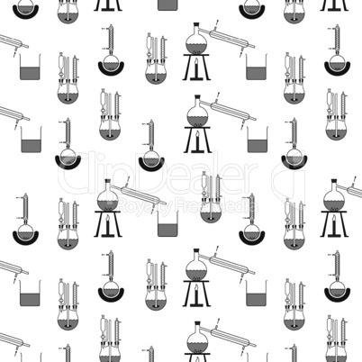 Muster aus verschiedenen Destillationsapparaturen in schwarz weiß, beliebig fortsetzbar