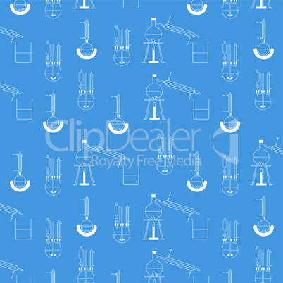 Muster aus verschiedenen Destillationsapparaturen in weiß auf blauem Hintergrund, beliebig fortsetzbar