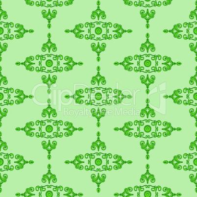grünes Gestaltungsmuster im Gründerzeitstil des Historismus um 1890