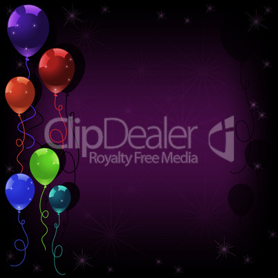vector festive colorful balloons and stars on pink background