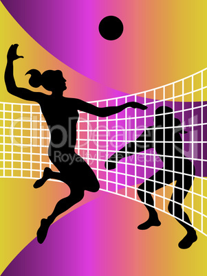 vector abstract volleyball players