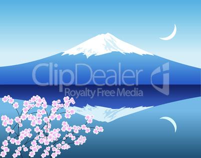 vector Mount Fuji, moon and branches of sakura