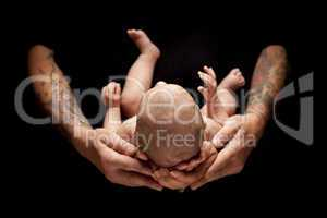 Hands of Father and Mother Hold Newborn Baby on Black