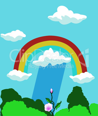 Nature background with a rainbow